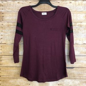 Glitz Burgundy Raglan T-Shirt With Sheer Stripes